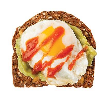 Smashed Avocado, Quail Egg & Sriracha