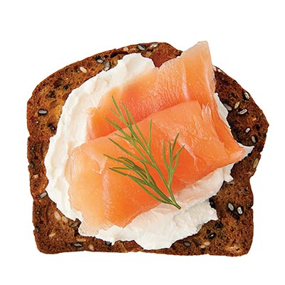 Cream Cheese, Smoked Salmon topped with Dill